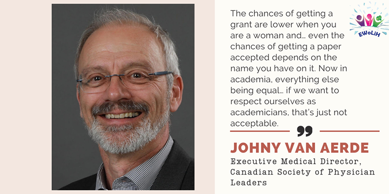 "A photo of Executive Medical Director of the Canadian Society of Physician Leaders, Dr. Johny van Aerde is accompanied by the following quote:  ""The chances of getting a grant are lower when you are a woman and … even the chances of getting a paper accepted depends on the name you have on it. Now in academia, everything else being equal, … if we want to respect ourselves as academicians, that's just not acceptable."""