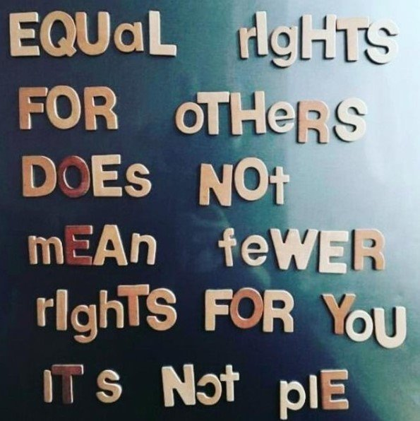 The image is a picture of mix-matched beige lettering on a black background sourced from Ontario Midwives facebook page. The text reads: Equal rights for others does not mean fewer rights for you, it's not pie. Source: https://www.facebook.com/OntarioMidwives/photos/a.180689428648841/2964832950234461/?type=3&theater&ifg=1