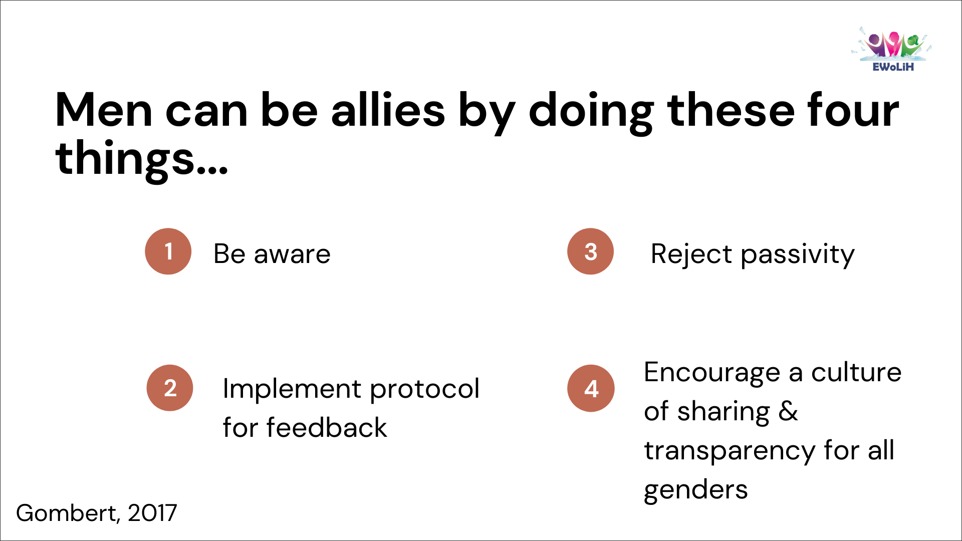 The image has a white background and has the following title in black bold letters: Men can be Allies by Doing These 4 Things. The rest of the text lists in point form: 1. Be aware, 2. Implement protocol for feedback, 3. Reject passivity, 4. Encourage a culture of sharing & transparency for all genders. In the bottom left corner, the image cites Gombert, 2017.