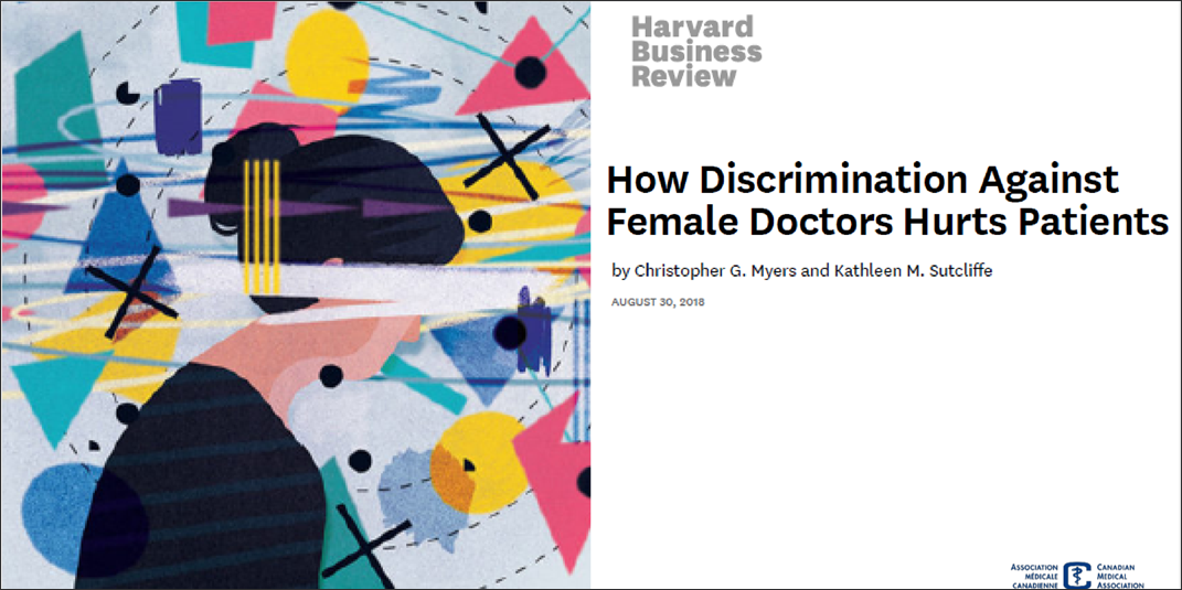 The image is a rectangular cover-page graphic of an article published by the Harvard Business Review. On the left side of the image is an abstract graphic of a woman's side profile with colourful swirling shapes and lines. On the right side, there is black lettering on a white background. The text states the article title, authors, and date of publication: How Discrimination Against Female Doctors Hurts Patients. By Christopher G. Meyers and Kathleen M. Sutcliffe, August 30th, 2018.