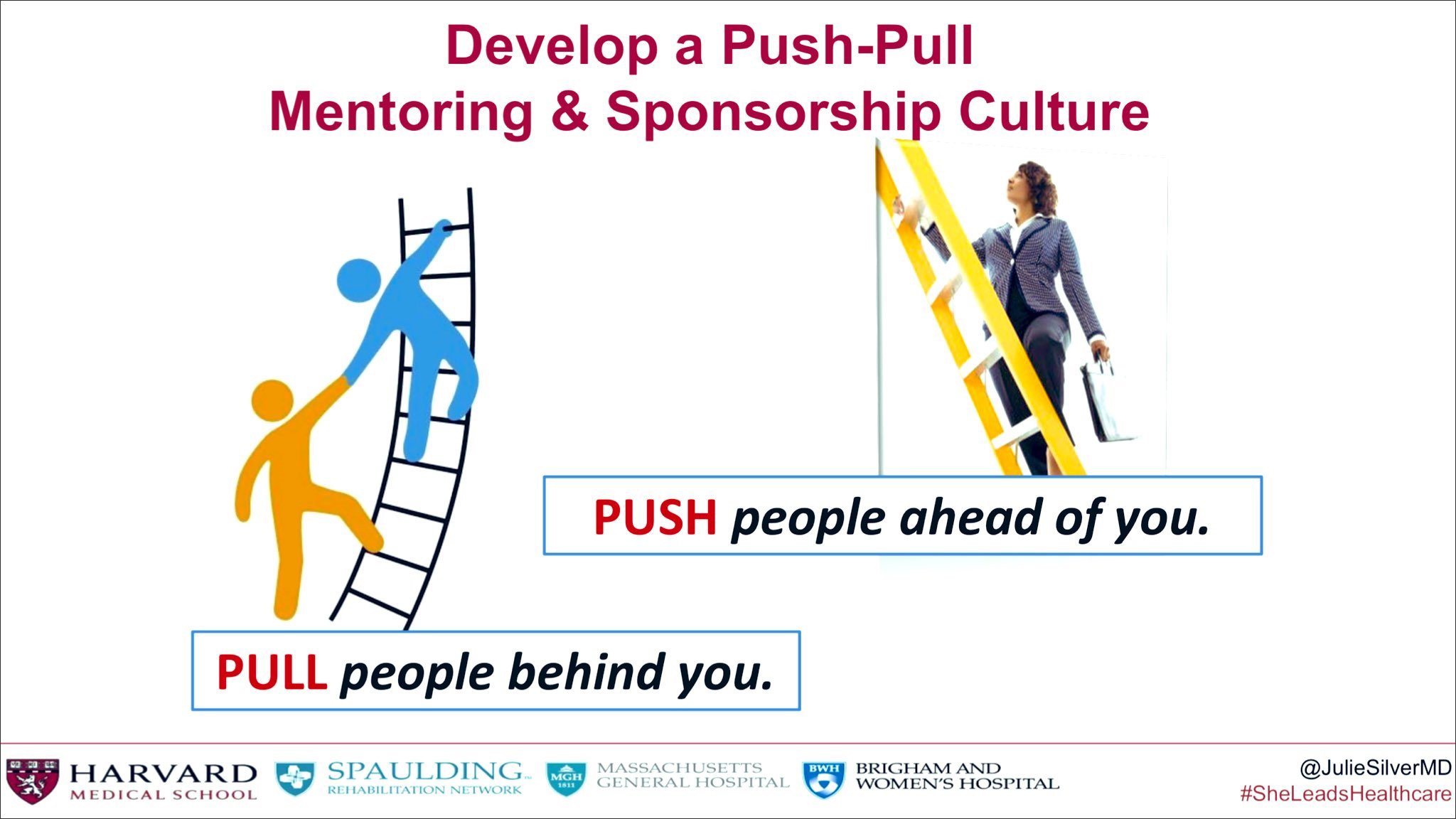 """The title reads: Develop a Push-Pull Mentoring & Sponsorship Culture. There are two images of people climbing ladders with the words """" PUSH people ahead of you and PULL people behind you."""