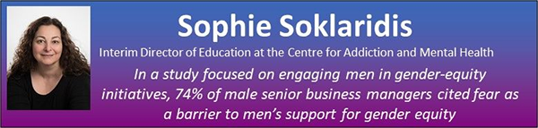 The image is a blue and purple text box with Dr. Sophie Soklaridis's headshot followed by her title as Interim Director of Education at the Center for Addiction and Mental Health. The text below reads: In a study focused on engaging men in gender-equity initiatives, 74% of male senior business managers cited fear as a barrier to men's support for gender equity.