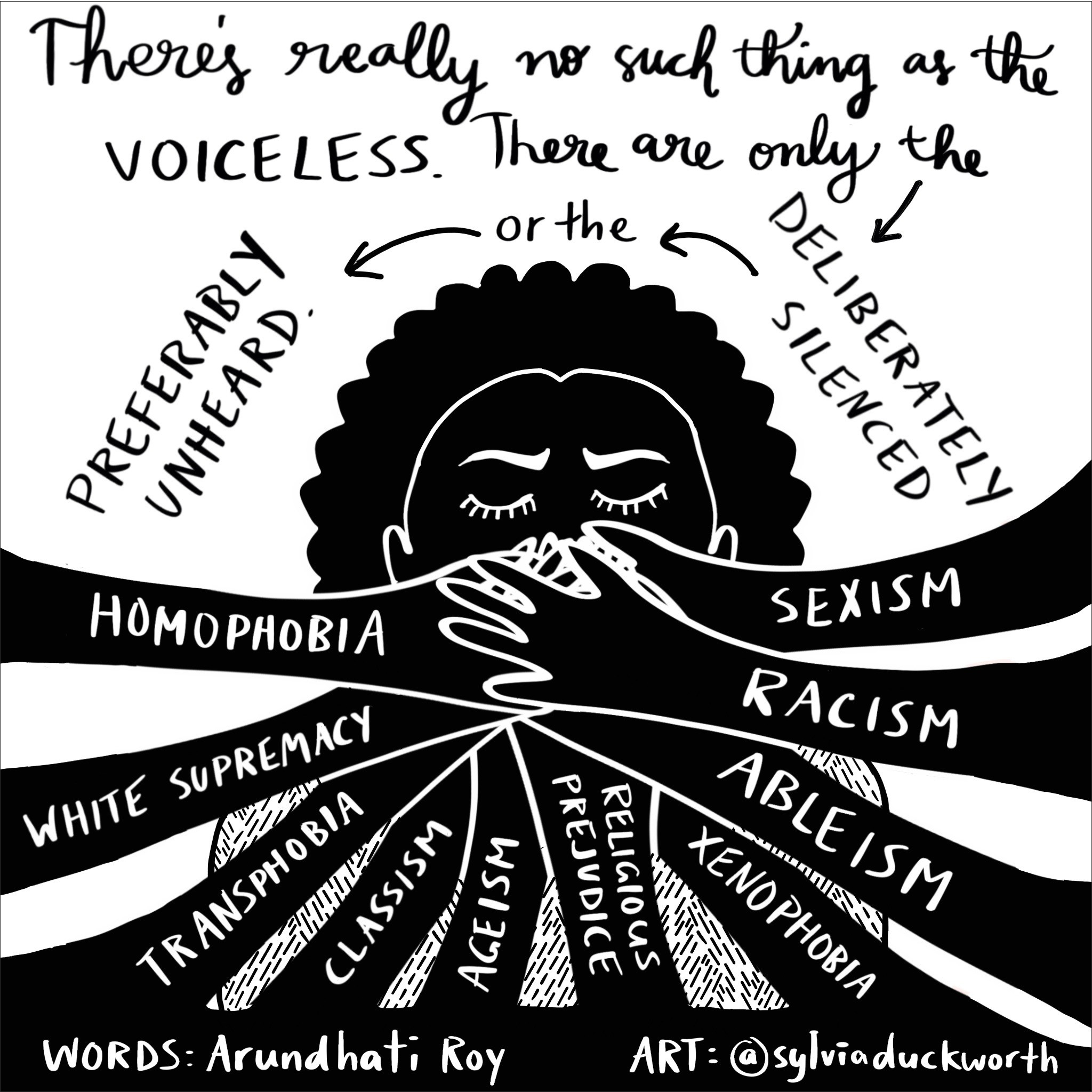 """This image depicts an individual whose mouth is being covered by multiple hands. Each hand is labelled with the words sexism, racism, ableism, xenophobia, religious prejudice, ageism, classism, transphobia, white supremacy and homophobia. At the top of the image it reads: """"There's really no such thing as the VOICELESS. There are only the deliberately silenced or the preferably unheard. Words by Arundhati Roy and Artwork by @sylivaduckworth"""