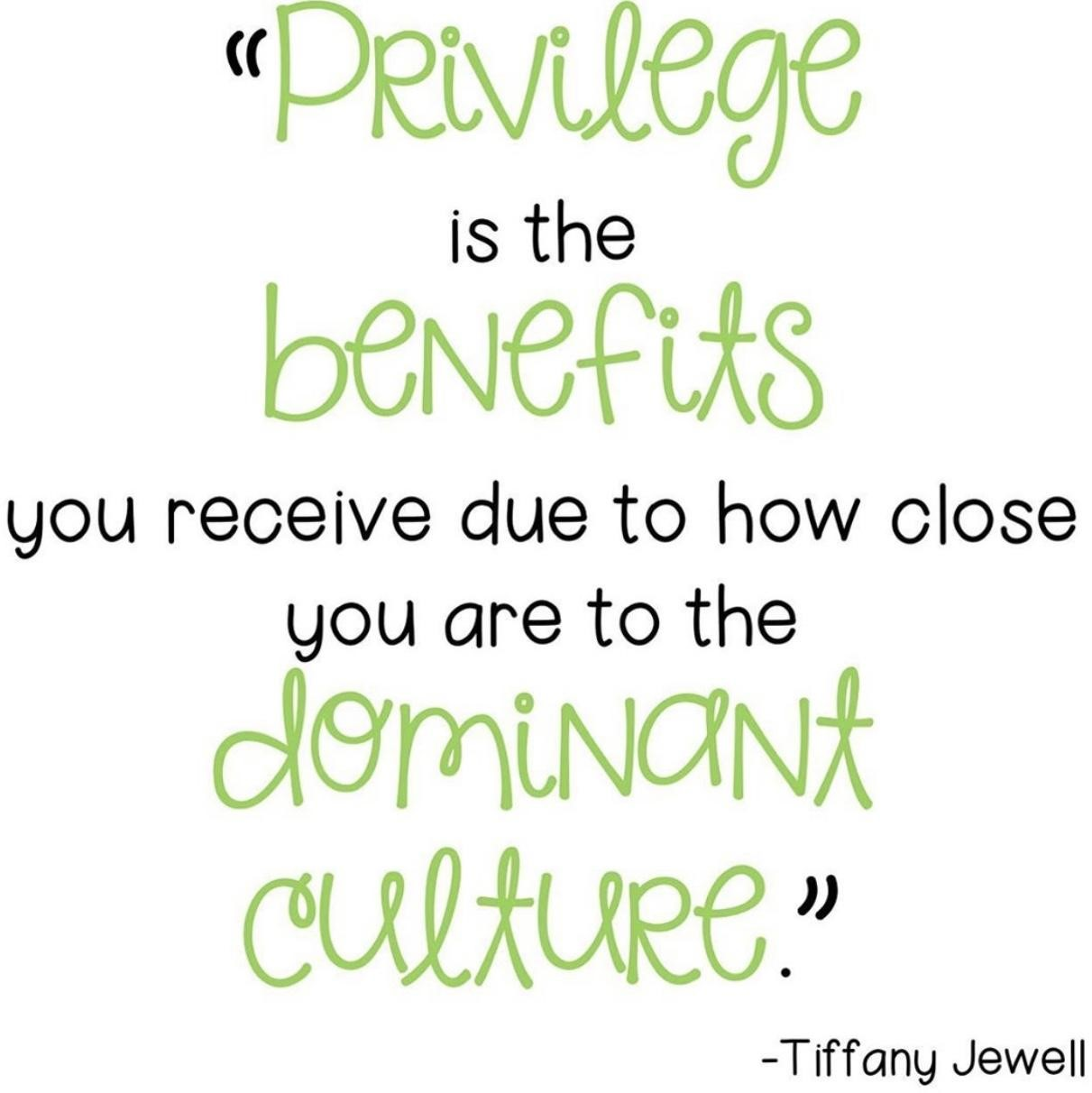 """This image has a white background with green letters saying: """" Privilege is the benefits you receive due to how close you are to the dominant culture."""" - Tiffany Jewell"""