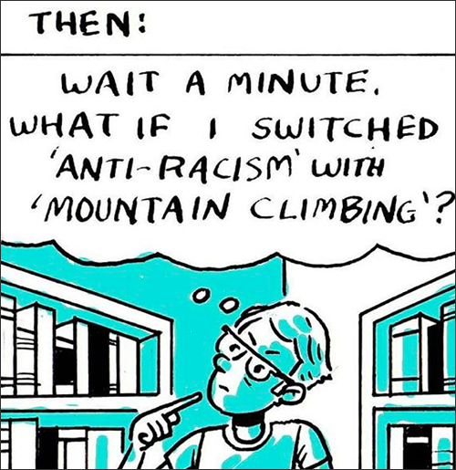 Third box says: Then, Wait a minute, What if I switched 'Anti-racism' with 'mountain climbing?'