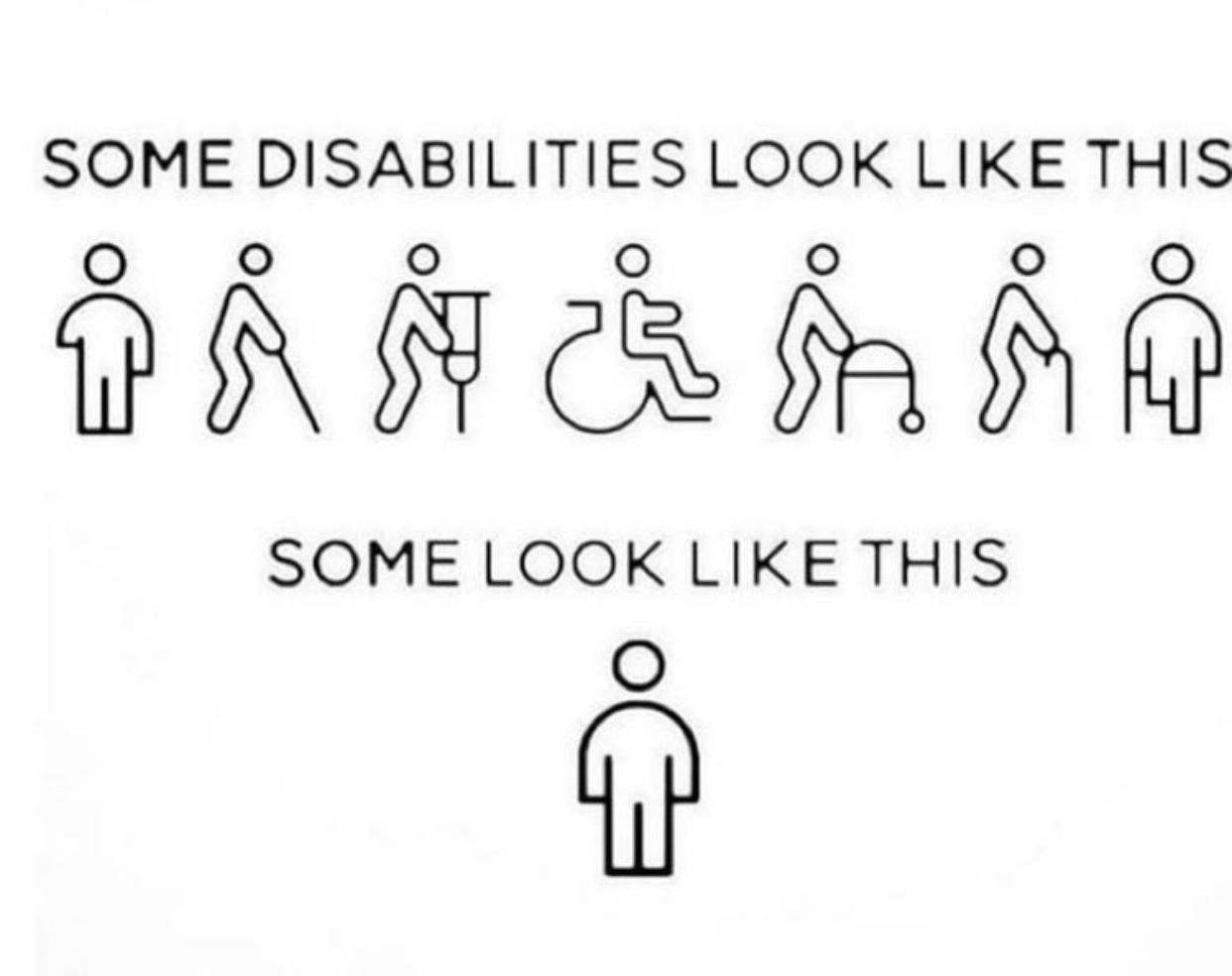 "This image has the words "" Some disabilities look like this"" accompanied by 7 representations of visible disabilities  (cane, wheelchair, walker etc.) and then the words ""Some look like this"" and there is an image of a person with no apparent disability."