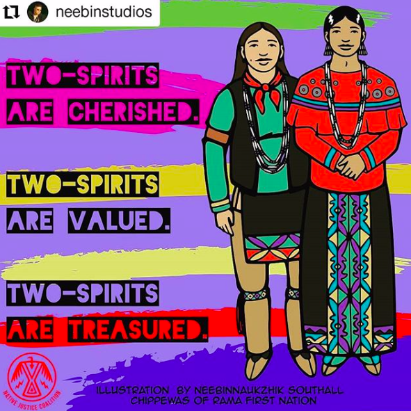 """This image states : """"Two-spirits are cherished. Two-Spirits are valued. Two-Spirits are treasured."""" illustration by neebinnaukzhik southall chippewas of rama first nation."""